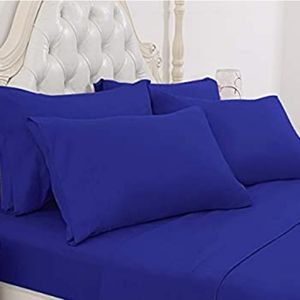 Solid blue queen size sheet bedding set.